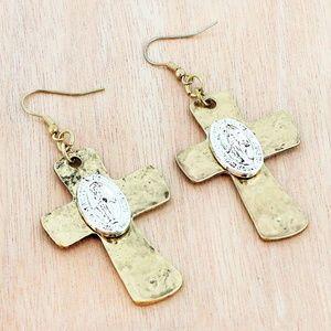 Antique Goldtone Cross Earrings
